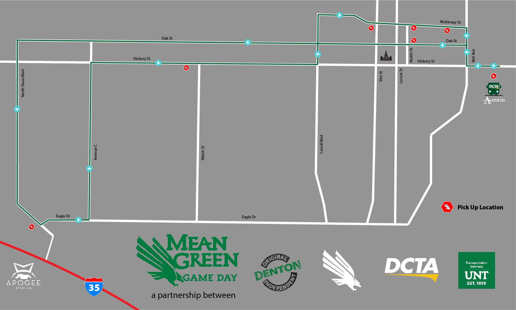 Mean Green Game Day Shuttle route for homecoming