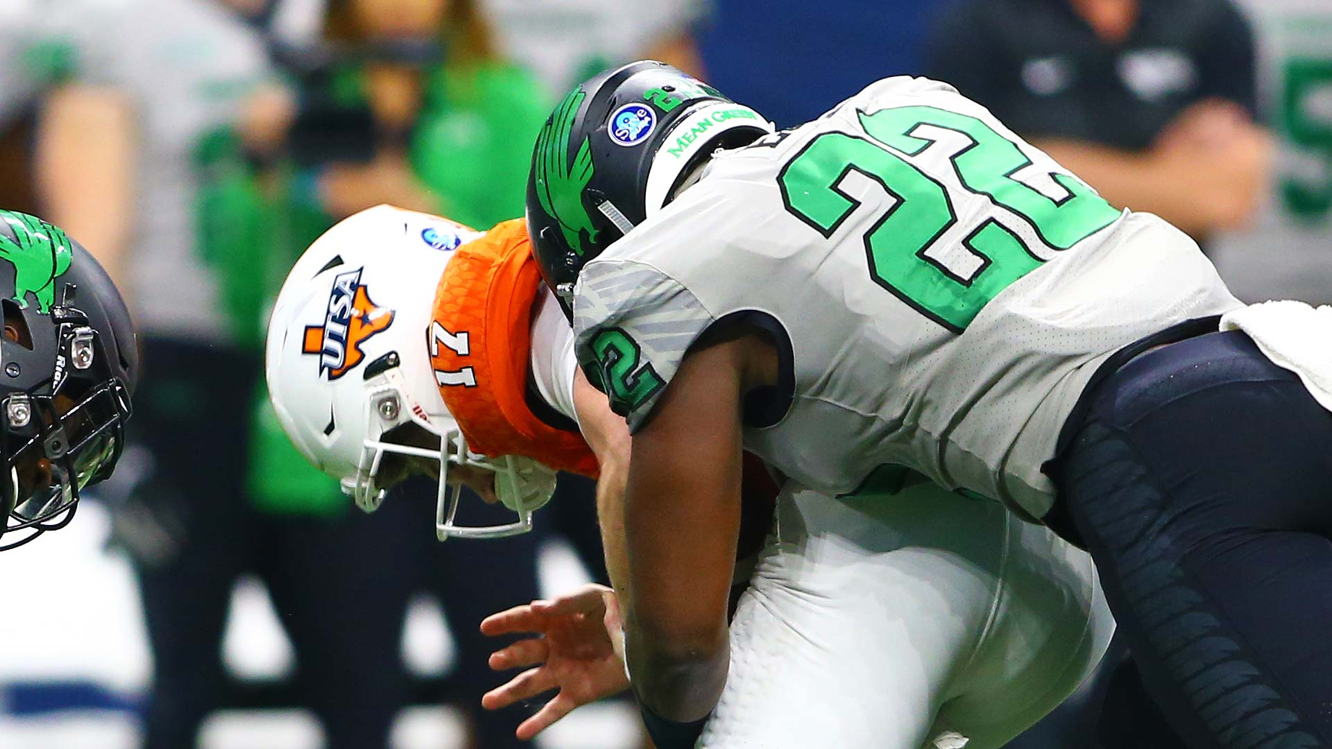 331a5214e E.J. Ejiya registers one of his two sacks against UTSA. Box Score. North  Texas Logo. 24