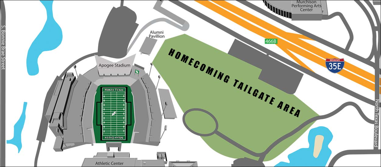 North Texas homecoming tailgate map
